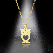 Stainless Steel Owl Necklace Clavicle Chain Korean Student Mori Titanium Titanium Pendant Female Pendant Ins Style men titanium steel overbearing tiger head pendant necklace so235