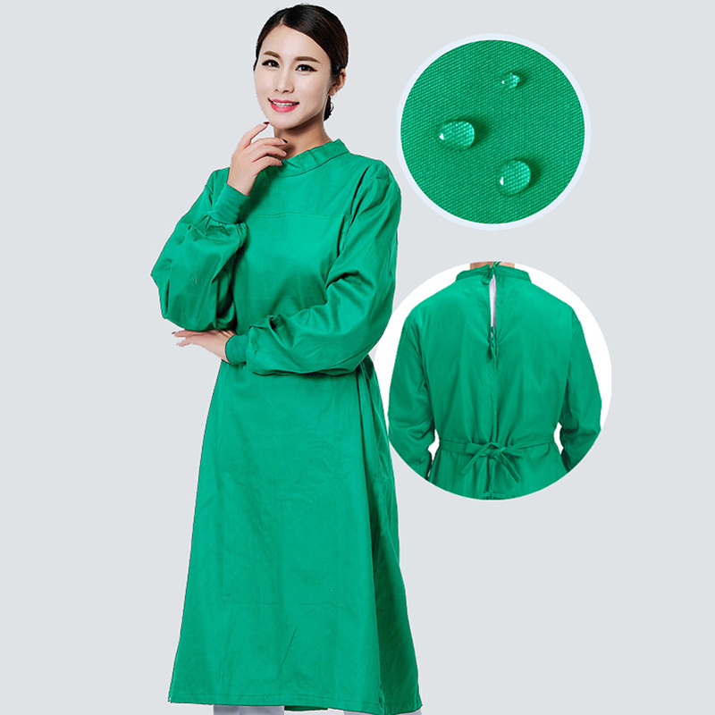 Image 4 - Long Sleeve Medical Suit Lab Coats Man Solid Green Hospital Scrub Uniform Surgical Gown Doctor Operating Slim Work WearSafety Clothing   -