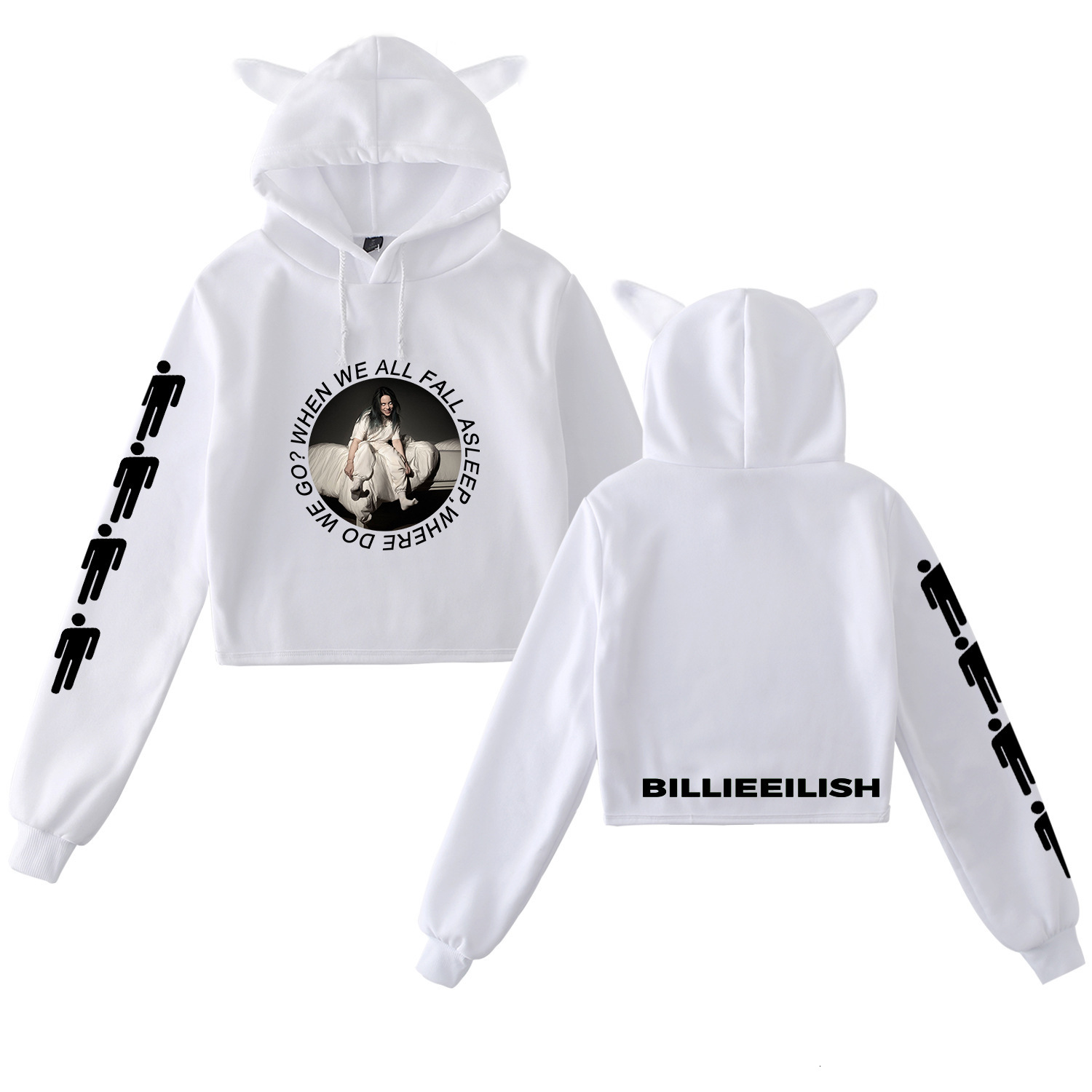 Billie Eilish Cat's Ear Hoodies Sweatshirt Jacket Casual Oversized Hoodie Plus Size 4XL Merchandise