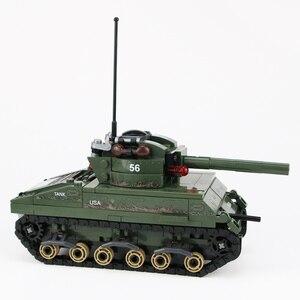 Image 2 - Военный Шерман M4 Танк солдат армии США фигурки строительные блоки военные WW2 солдат шлем оружие кирпичи части блоки игрушки