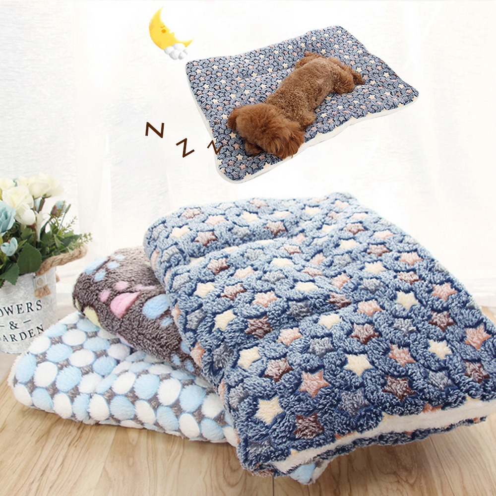 Animal Warm Pet Blanket Mat Cat Dog Puppy Coral Fleece Soft Bed Cushion Pad S-L`