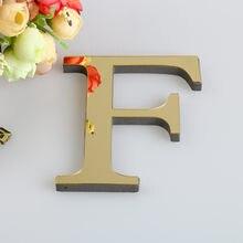 26 letras 3d ouro espelho adesivo de parede decalques de parede acrílico diy mural arte decoração da sua casa fazendo palavras decoração aniversário