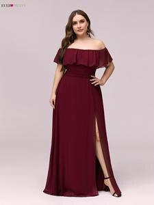 Розовое платье подружки невесты с вырезом лодочкой размера плюс, Vestidos De Madrinha Ever Pretty EP00968, торжественное платье для свадебной вечеринки 2020