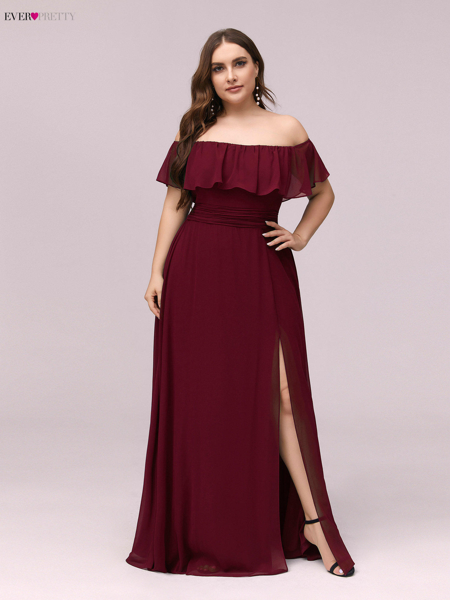 Bridesmaid-Dresses Boat Ever Pretty Wedding Pink Plus-Size Neck A-Line for Party Vestidos-De-Madrinha