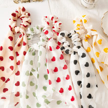 2020 New Heart Dot Streamers Scrunchies Women Hair Scarf Elastic Bow Hair Rope Ribbon Band Girls Hair Accessories(China)