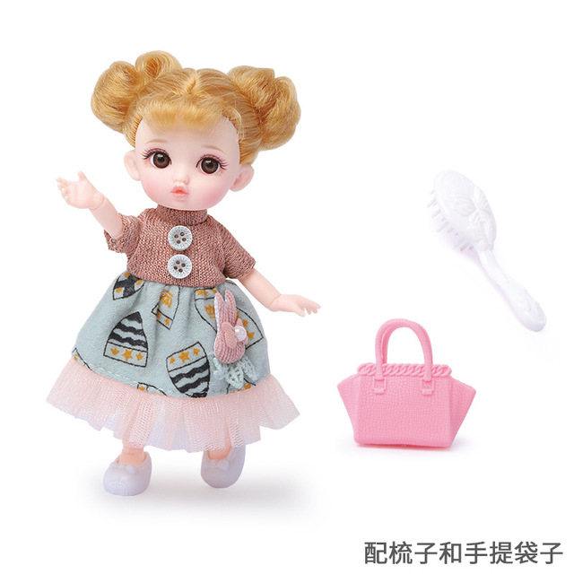 16cm/31cm Bjd Doll 12 Moveable Joints 1/12 Girls Dress 3D Eyes Toy with Clothes Shoes Kids Toys for Girls Children Birthday Gift 6