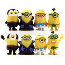 8 pieces/lot For Minion Moss micro landscape Decoration Miniature Figurines Toys Model Kids Anime Children Action Figure