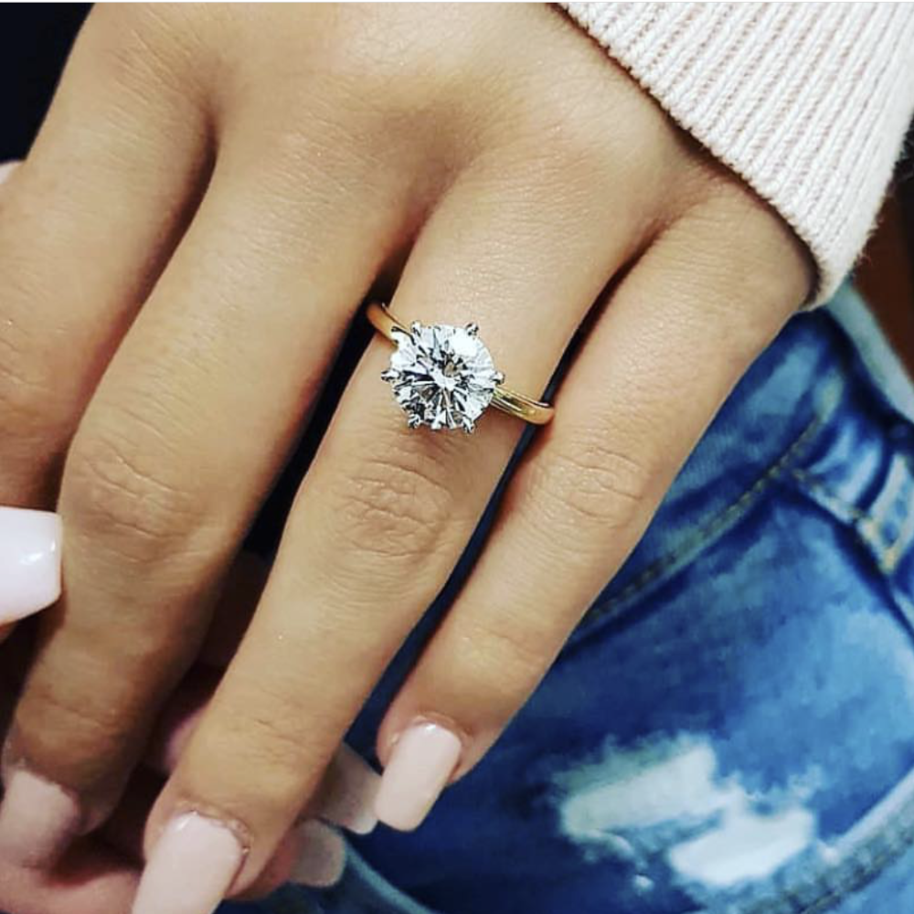 Fine 925 Sterling Silver 2 Carat Wedding Engagement Ring Simulated Diamond