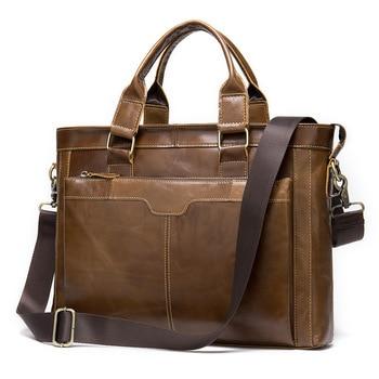 Leather Briefcases Men Men's Retro Handbag Shoulder Bag Man Business Briefcase 14 Inch Portable KUMON Laptop Briefcase