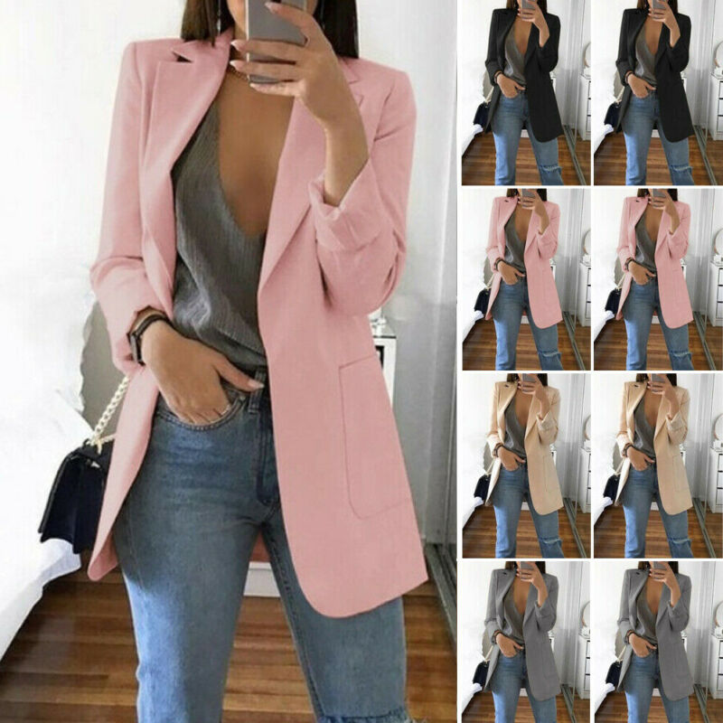 Women Slim Casual Blazer Jacket Top Outwear Long Sleeve Career Formal Tunic Coat
