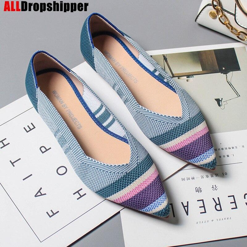 Балетки женские с острым носком, удобные вязаные лоферы, мягкая подошва, плоская подошва, осень|Обувь без каблука| | АлиЭкспресс