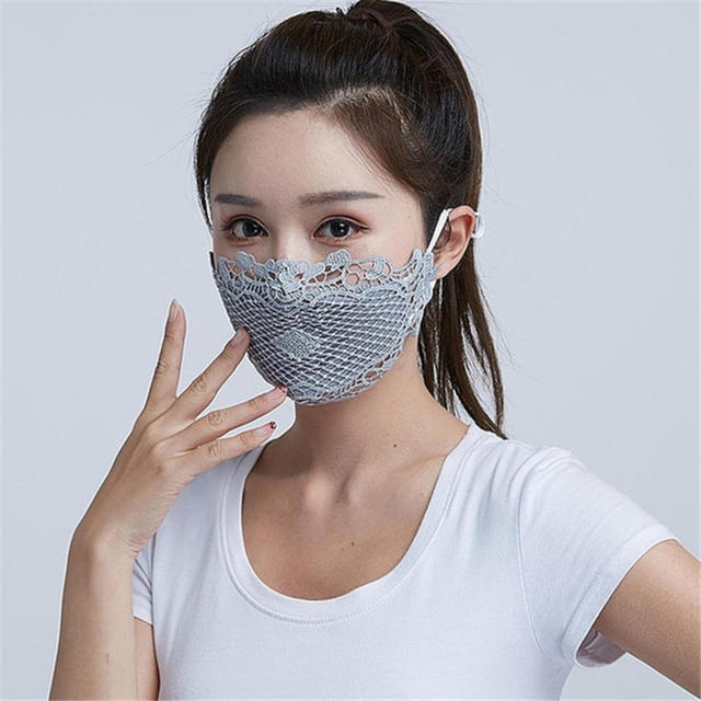 1PC Lace embroidery summer ice silk Korean ladies mask sexy personality breathable sunscreen mask White Black Blue Wholesale 1