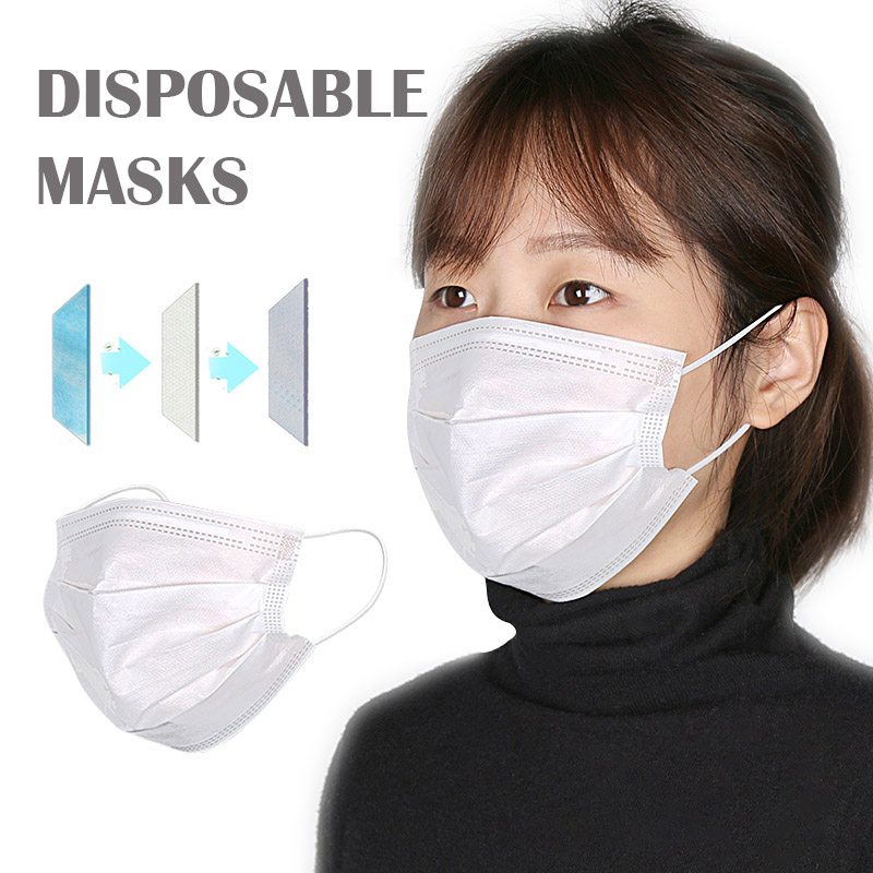 10/20/30/50pcs Disposable Face Mask In Stock Fast Shipping White Non Woven Disposable Anti-Dust Masks Face Mouth Masks