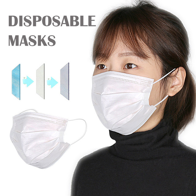 30/50/100pcs Disposable Face Mask In Stock Fast shipping white Non Woven Disposable Anti-Dust Masks Face Mouth Masks
