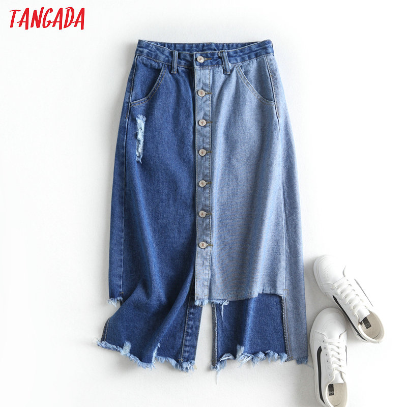 Tangada Women Patchwork Denim Midi Skirt Faldas Mujer Vintage Buttons 2020 Fashion Female High Street Chic Skirts BC81