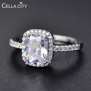 Cellacity Geometry Silver 925 Jewelry Gemstones Ring for Women Sapphire Emerald Amethyst Crystal Female Dating Gift Wholesale(China)