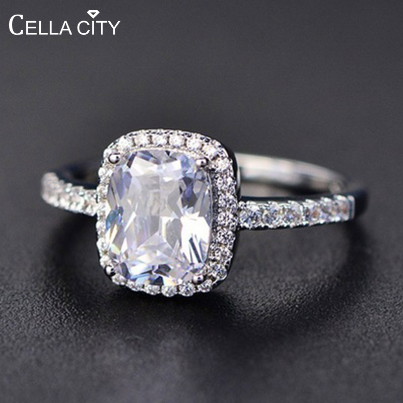 Cellacity Geometry Silver 925 Jewelry Gemstones Ring for Women Sapphire Emerald Amethyst Crystal Female Dating Gift Wholesale