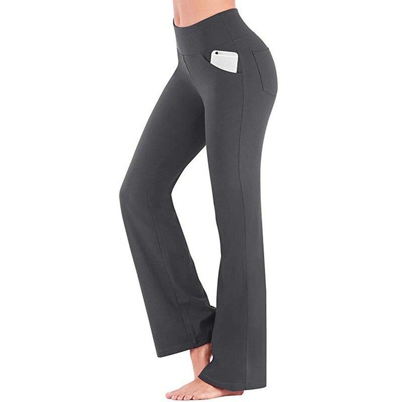 Осенние однотонные элегантные женские широкие брюки-клеш GOOHOJIO с высокой талией