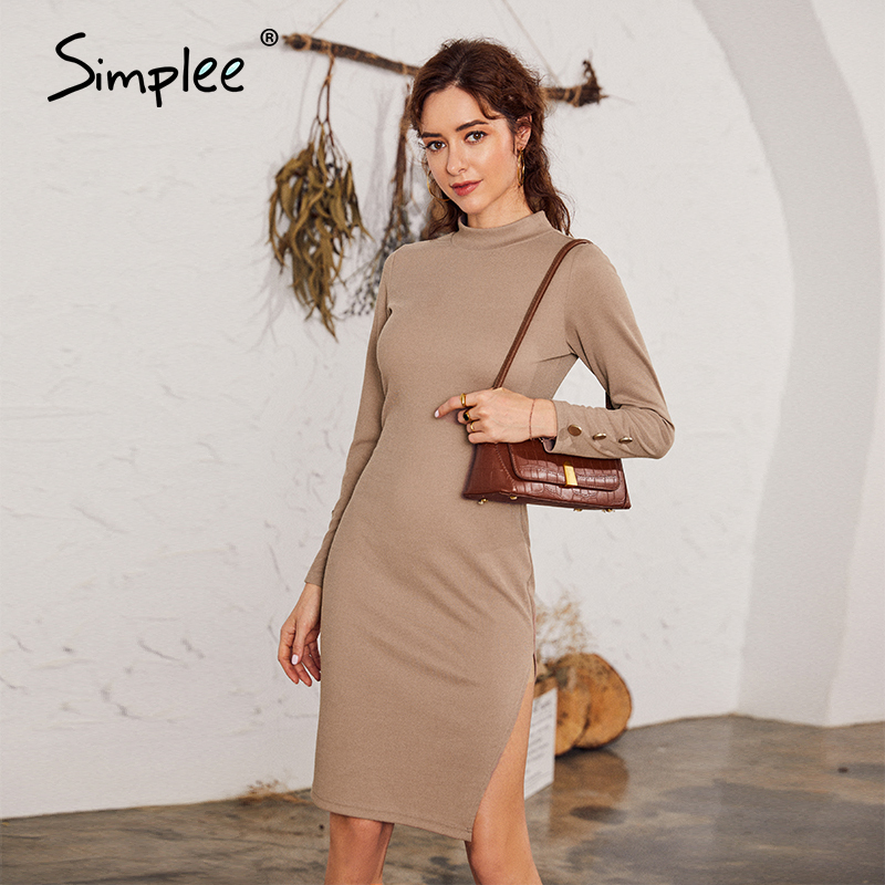 Simplee Sexy silm tight women woolen dress Casual long sleeve solid female knee-length dress Fashion turtleneck button dress