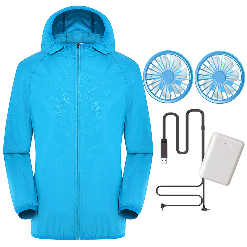 Men Women Sun Protective Coat With 2 Fans Waterproof UV Protection Fast Dry Coat ING-SHIPPING