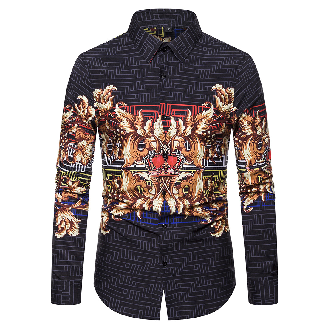 Autumn New Style Casual Trend Long-sleeved Shirt Men Ouma Digital Printing Shirt Ys013