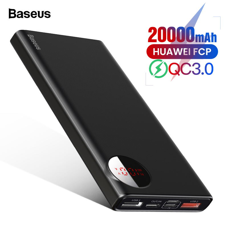 Baseus 20000mAh Power Bank USB C PD Fast Quick Charge 3.0 20000 mAh Powerbank For Xiaomi mi 9 Portable External Battery Charger Under-cabinet lighting