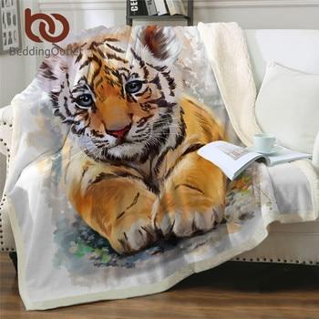 BeddingOutlet Tiger Baby Blankets For Beds Watercolor Plush Blanket Wild Animal Custom Blanket White Cobertor Luxury Bedding