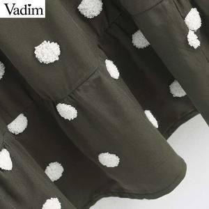Image 3 - Vadim 여성 우아한 폴카 도트 디자인 미니 드레스 v 목 긴 소매 여성 캐주얼 스트레이트 스타일 드레스 vestidos qd044