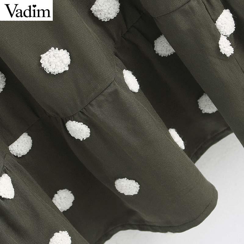 Image 3 - Vadim women elegant polka dots design mini dress V neck long sleeve female casual Straight style dresses vestidos QD044Dresses   -