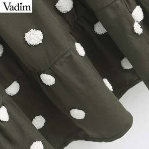 Image 3 - Vadim women elegant polka dots design mini dress V neck long sleeve female casual Straight style dresses vestidos QD044