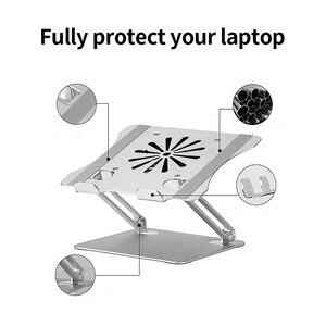 Image 2 - מתכוונן אלומיניום סגסוגת מעמד מחשב נייד עם קירור מאוורר מתקפל החלקה בעל מחשב נייד תואם עם 10 17.3 אינץ מחשב נייד