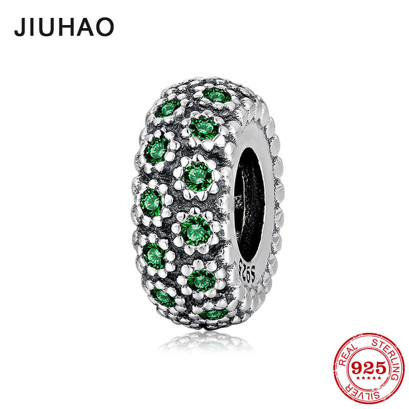 New 925 Sterling Silver Green CZ Spacer Beads Womens Accessories Trendy 2018 Fit Original Pandora Charm Bracelet Jewelry