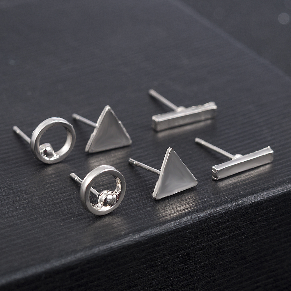 2020 fashion Trendy jewelry accessories 3pcs/Set Women Simple Alloy Cubic round Triangl Geometric Shaped Stud Earrings Gold 3