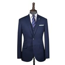 Шерстяной темно-синий мужской костюм на заказ, мужской свадебный Блейзер, костюм из 3 предметов