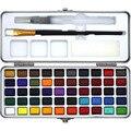 50 cores sólido pintura em aquarela portátil caixa de metal cor água pigmento para iniciante desenho aquarela pintura arte suprimentos