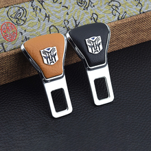 цена на 2PCS  With Car Brand Safety Belt Buckle Clip Car Safty Belt Non-Alarm Plug Buckle Leather&aluminum alloy For Car Seat Belt