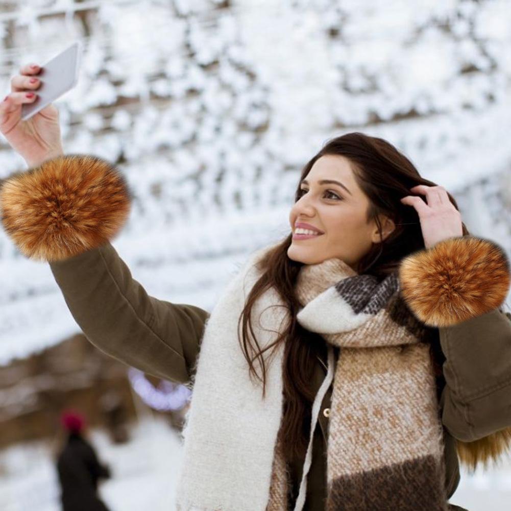 1 Pair Women Winter Fashion Faux Fox Fur Arm Warmers Hairy Short Sleeve Cute Ladies Faux Fur Cuff Warmer Clothing Accessories