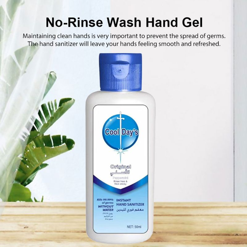 Travel Alcohol Hand Sanitizer Gel Anti-Bacterial Quick Drying Hand Cleaner 50ml