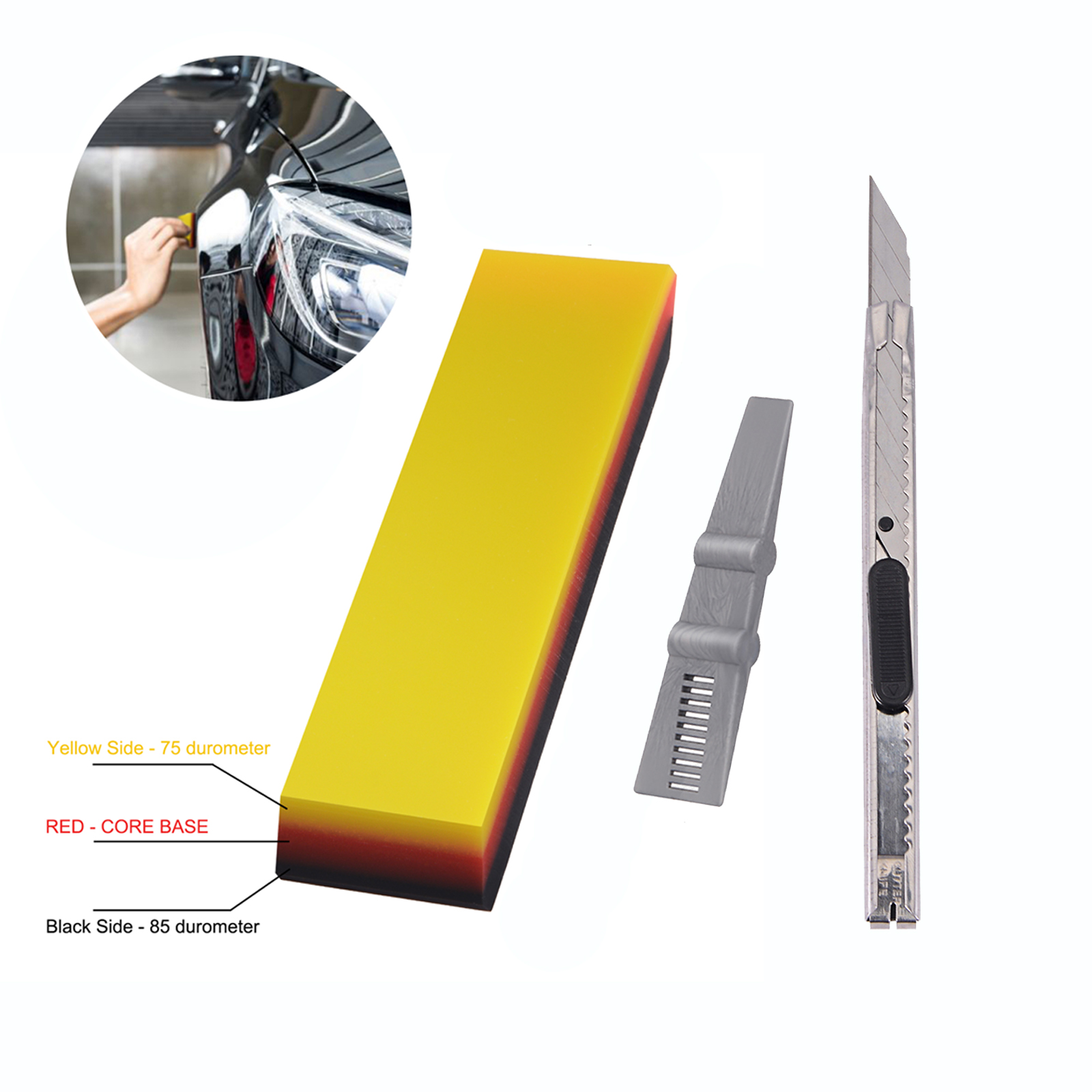Car Window Tinting Squeegee Double Edge TPU Rubber Squeegee Car Decal Wrapping Film Fitting Tool Vinyl Install and Glass Cleaning Scraper