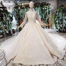 HTL346G luxus Hochzeit Kleider mit hochzeit schleier square neck long sleeves brautkleid mit abnehmbaren zug платье кружево