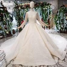 HTL346G 분리 가능한 기차를 가진 결혼식 베일 사각 목 긴 소매 웨딩 가운을 가진 호화스러운 웨딩 드레스