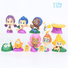 12pcs/set Bubble Guppies model toy guppy Underwater Scenery Mini Cute Figures Dolls Toys Gift for Children