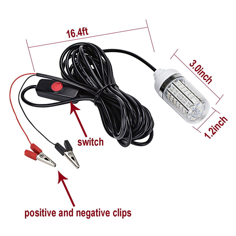 12V Fishing Attracts Lights LED Underwater Light Fish Lures Finder Lamp with IP68 Waterproof Switch, Attracts Prawns Squid Krill