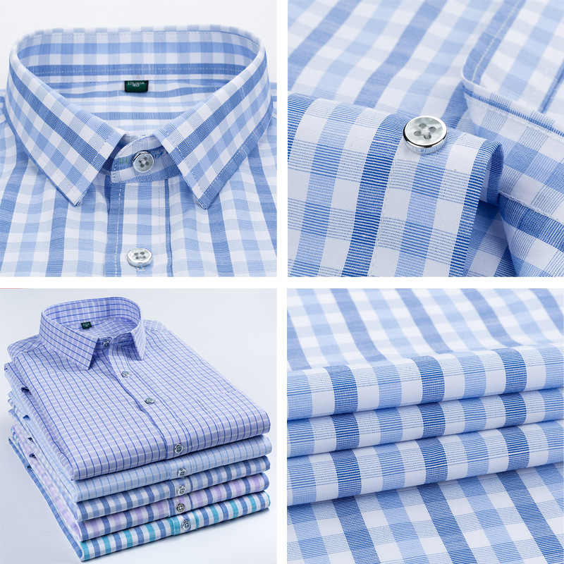 Gli uomini Della Camicia di Plaid Del Manicotto Del Bicchierino Del Vestito A Strisce Della Camicia Formale 2020 di Estate Casual Slim Fit Tasca di Alta Qualità di Business Dropshipping