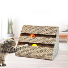 New Corrugated Paper Scratch Board Cat Scratcher Kitten Pad For Pet Kittens Scratching Balls Toys 26.5x16.5x16.5cm