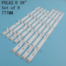 Faixa de retroiluminação led 8 pçs/set, barras para substituição para lg «innotek hc390dun pola2.0 39 a b 2.0 39 polegadas