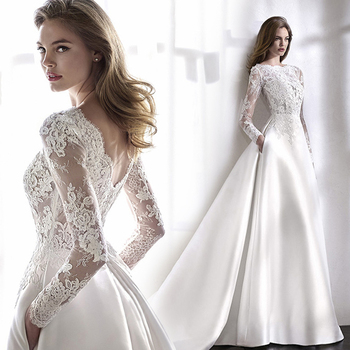 Wedding Dresses 2021 Mrs Win Elegant Full Sleeve Court Train Vestido De Noiva A-line Princess Luxury Light Dress - discount item  33% OFF Wedding Dresses