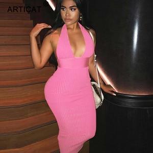 Image 2 - Articat הלטר ללא משענת סקסי סרוג עיפרון שמלת נשים לבן כבוי כתף ארוך Bodycon מסיבת שמלה אלגנטית קיץ שמלת 2020
