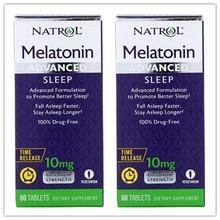 2 bottles Natrol Advanced Sleep Melatonin 10 mg Vitamin B-6 Calcium 60 Tablets