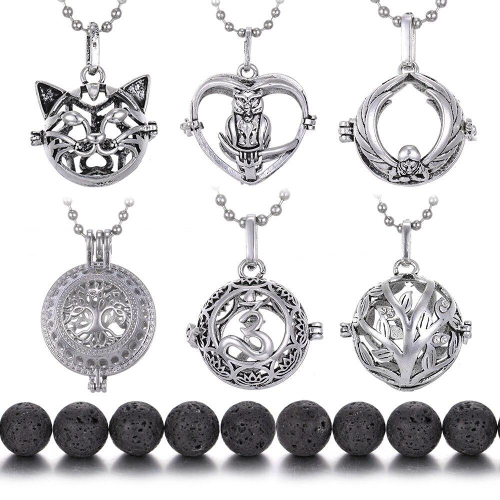 Vulkanischen Lava Stein Halskette Anhänger Aroma Diffusor Käfig Medaillon Halsketten Parfüm Ätherisches Öl Diffusor Aromatherapie Neckalce